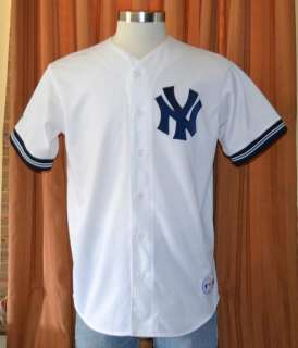 NEW YORK YANKEES Majestic SEWN MLB BASEBALL JERSEY WHITE SHIRT MENS