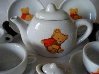 Dolls Wicker Picnic hamper + Teddy Bear Tea Set