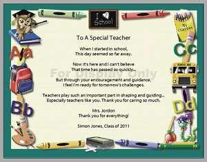 Personalized A Special Teacher Appreciation Poem Print