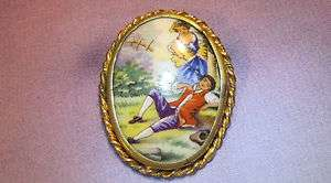 Antique Hand Painted Limoges Pin Brooch Gold Tone Frame Courting