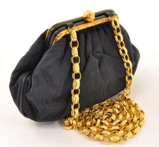 Vintage Chanel Black shoulder party bag with gold tone chain CC A806