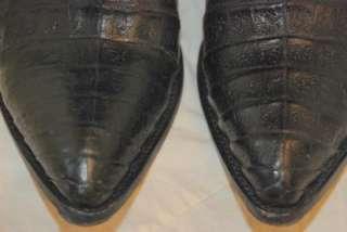 750 BERNINI BEVERLY HILLS BLACK CAIMAN CROCODILE & CALF SKIN LEATHER