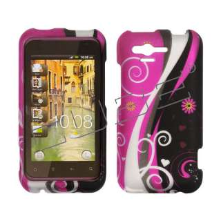 For HTC Rhyme Case Cover Black and Hot Pink Retro Rubberized ADR6330