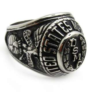 Mens gothic warrior hero badge USA marine corps USMC ring stainless
