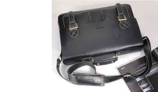 AK Mens Black Strap Leather Briefcase for Laptop NEW