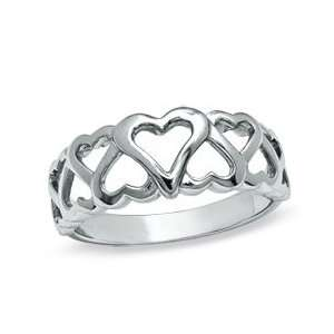 Sterling Silver Open Hearts Band  Size 7 SS LADIES RINGS