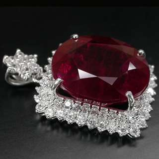 BREATHTAKING BLOOD RED RUBY & WHITE SAPPHIRE 925 SILVER PENDANT