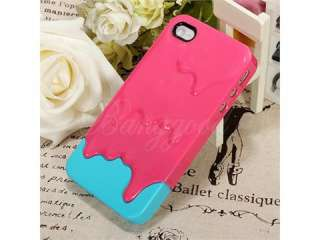ice Cream Hard Cover Case Skin for Apple iPhone 4 4S 4G NEW_ Blue Pink