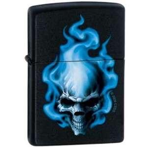 Blue Flame Skull Black Matte Zippo Lighter