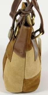 Franco Sarto La Boheme Brown Multi Toned Suede Patchwork Tote Handbag