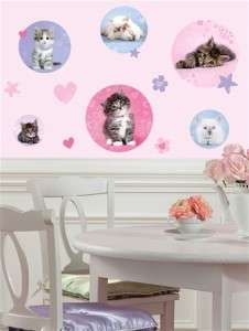 New Baby KITTENS Pink Purple POLKA DOTS WALL DECALS Kitty Cats