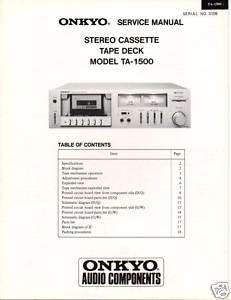 Original Service Manual Onkyo TA 1500 Cassette Deck