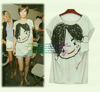 New Korean Punk Gothic Party Top Tee Shirt Pale Gray T9