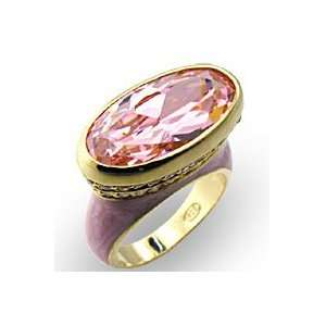 Womens Solitaire Rose CubicZirconia Gold Tone Ring, Size