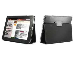 Black Synthetic Leather Skin Case Cover Pouch With Kickstand Apple