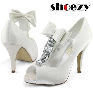 US SHIP New womens ivory satin wedding bow peep toe platform heels