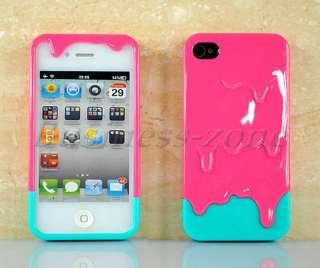 4G 4S Lovely 3D Melt Sweet ice Cream Hard Plastic Slider Case Cover