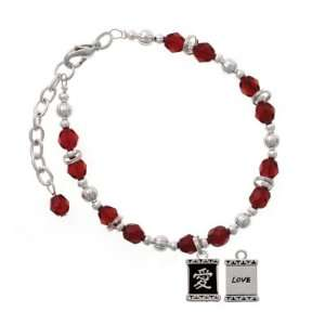 Chinese Character Symbols   Love Maroon Czech Glass Beaded