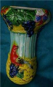 VTG Wall Pocket Vase H.P.Red Bird, Grapes/ White Swan Pottery