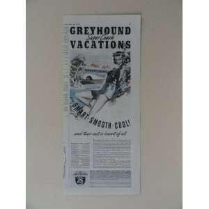 bus lines. Vintage 30s print ad. (girl,blue dress/handbag/bus
