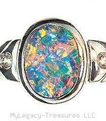 black opal diamond 14K gold ring rare harlequin floral birthstone