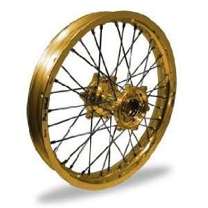 Pro Wheel Supermoto Front Wheel Set   17x3.50   Gold Rim/Gold Hub 26