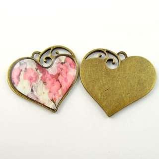 40*38*4mm Antique style bronze look floral love heart charm pendants