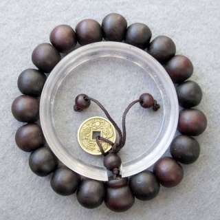 Wood Beads Coin Tibetan Buddhist Prayer Bracelet Mala