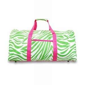 Zebra Lime Green Hot Pink Duffle Bag 22  Sports