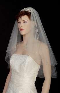 2T White/Ivory Wedding Bridal Veil Bugle Beads Drop s10