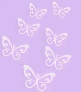 LARGE WHITE Swirl Butterfly Wall Car Decals Removable