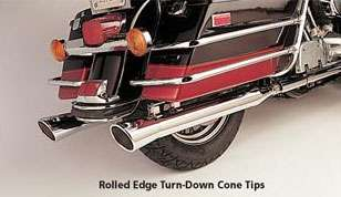 SANTEE ROLLED EGDE TURN DOWN CONE TIPS MUFFLERS TOURING FOR HARLEY