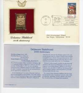FDC & 22k Gold Stamp Delaware Statehood 200th Ann. 1987