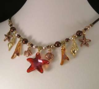 Swarovski CRYSTAL PEARL Charm STARFISH CORAL NECKLACE