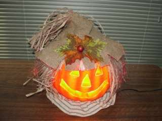 Optic Color Changing Halloween Jack O Lantern Scarecrow Pumpkin Light