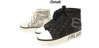 sneakers platform wedge sparkle glitter laceup shoes black silver