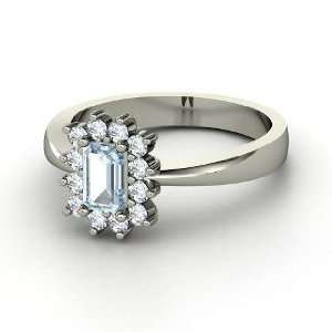 Ring, Emerald Cut Aquamarine 14K White Gold Ring with Diamond Jewelry
