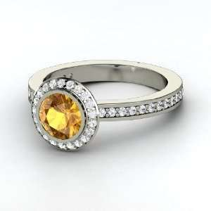 Roxanne Ring, Round Citrine Sterling Silver Ring with