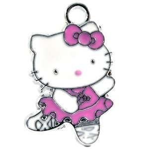 12X DIY Jewelry Making Hello Kitty Pink Ballerina Enamel