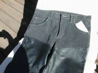 Mens Deerskin Leather Chap Jeans Motorcycle Biker Design Black Lined