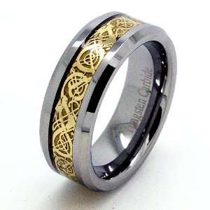 Blue Chip Unlimited   Unisex 8mm 18k Gold Plated Celtic Dragon Inlay
