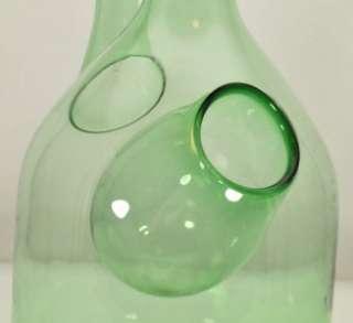 Retro Green Blown Glass Wine Bottle with Ice Storage