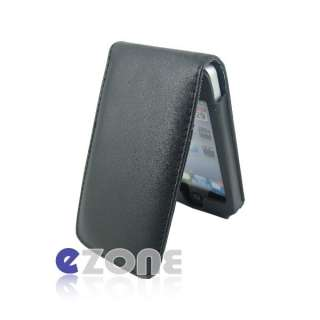 Black Wallet Flip Leather Case Cover Pouch For iPhone 4