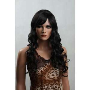 Female Mannequin Long Black Curly Wig