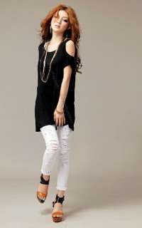 Out Open Cold Shoulder Loose Long T Shirt Blouse Summer Club Tee Tops
