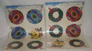 VINTAGE LARGE CHRISTMAS WINDOW CLINGS STICKERS X6