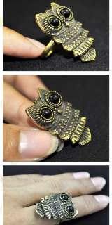 Vintage Style Big Eye Owl Animal Crystal Finger Ring #A77