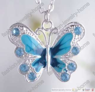 Fashion crystal butterfly necklace pendant 7 clour choose