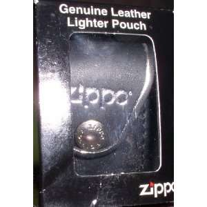 ZIPPO BLACK LEATHER LIGHTER POUCH WITH BELT CLIP