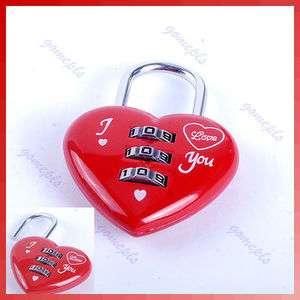 Cute 3 Digits Luggage Suitcase Padlock Red Heart Shaped Coded Lock